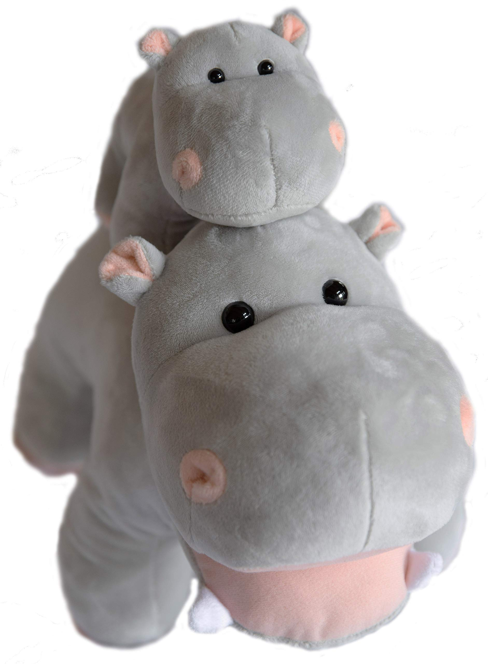 Exceptional Home Hippo Stuffed Animals Oh So Soft Plush Mother Baby Hippos Hippopotamus Toy Set by Exceptional Home