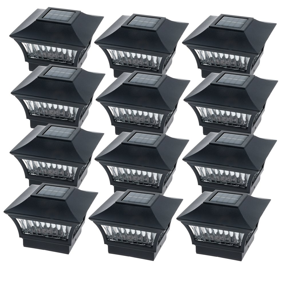 GreenLighting Black Aluminum Solar Post Cap Light 4x4 Wood & 6x6 PVC (12 Pack)