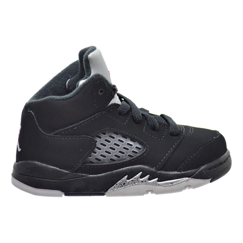 Jordan 5 Retro BT Toddler Shoes Black/Fire Red/Metallic Silver 440890-003 (6 M US)