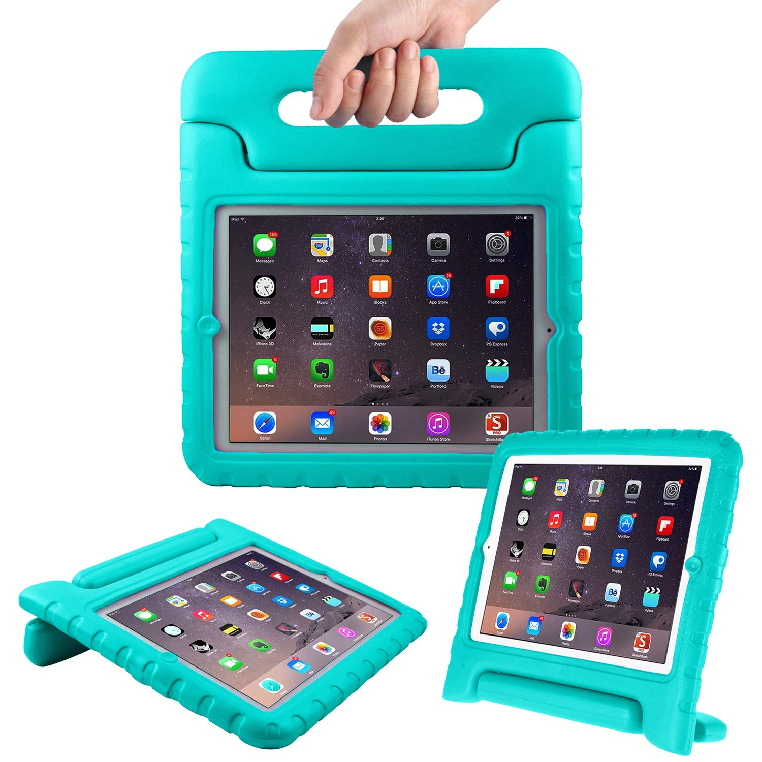 "AVAWO Kids Case for 9.7"" iPad 2 3 4 (Old Model)- Light Weight Shock Proof Convertible Handle Stand Kids Friendly for iPad 2, iPad 3rd Generation, iPad 4th Generation Tablet - Turquoise"