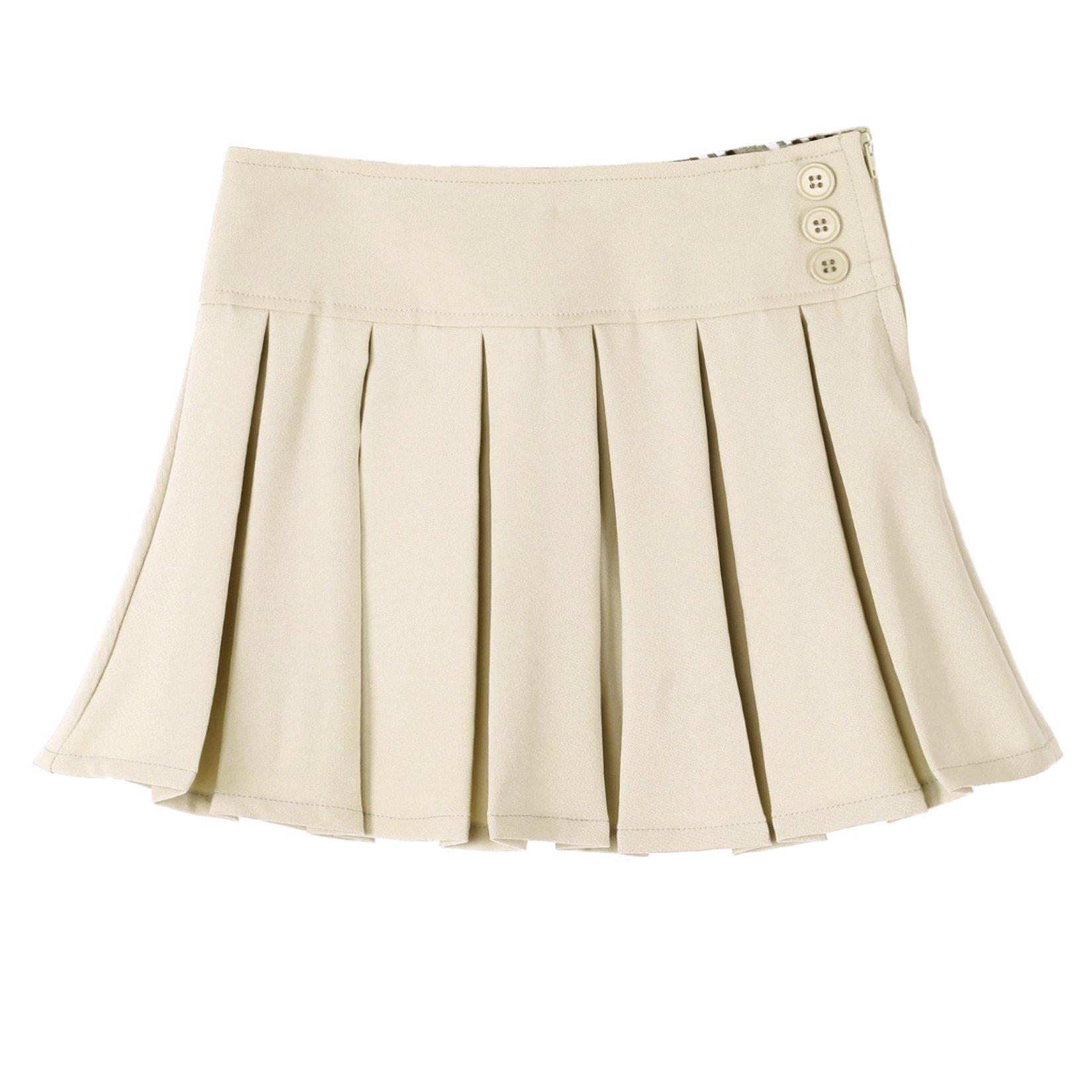 Bienzoe Girl's Pleated Hem School Uniform Skirt Khaki 10