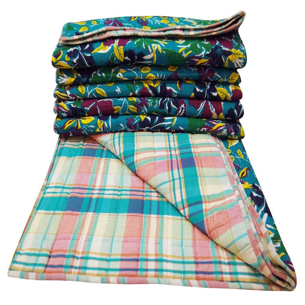 Home Décor Turquoise Blue Cotton Quilt Floral Pattern Decorative Queen Size Reversible Bedspread India