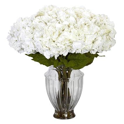 Amazon nearly natural 1255 large hydrangea with european vase nearly natural 1255 large hydrangea with european vase silk flower arrangement white mightylinksfo