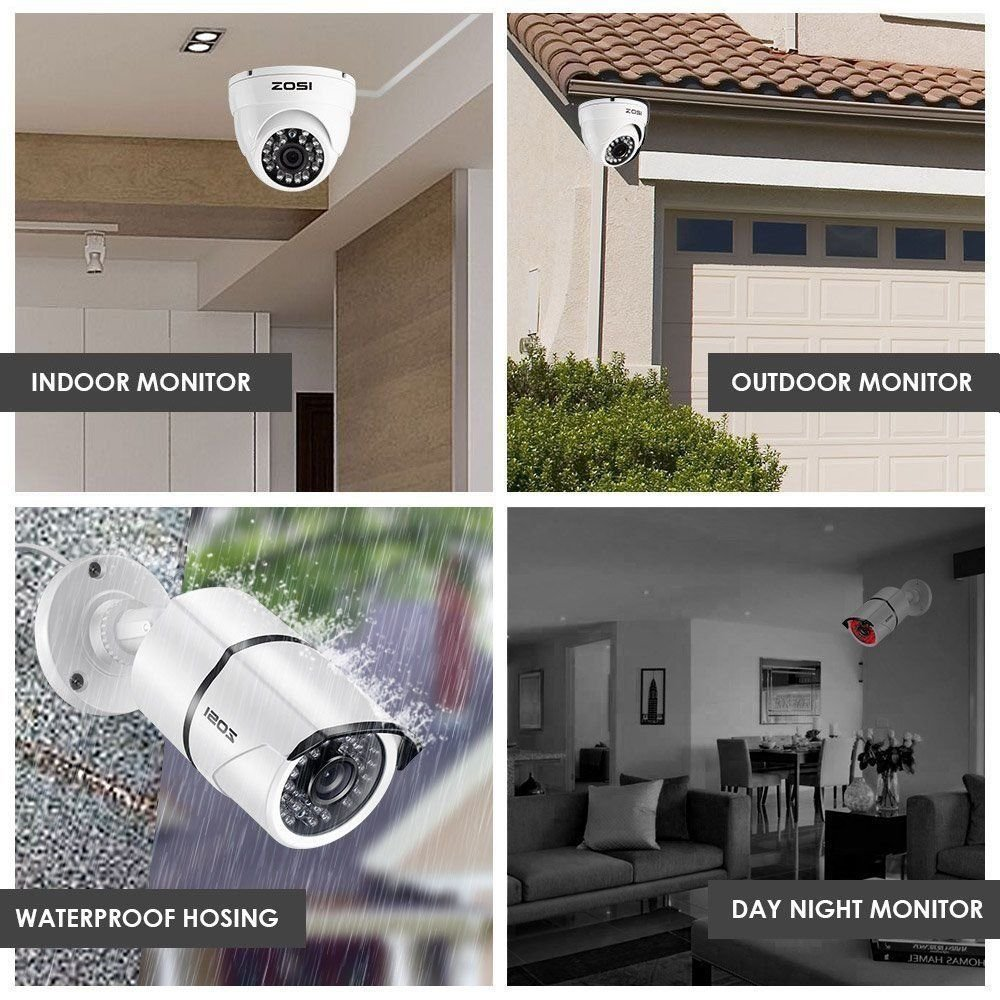 ZOSI Full HD 1080p Security Camera System, 8x 1080p HD Weatherproof Outdoor Surveillance Camera, 8CH 1080P CCTV DVR Recorder and 2TB Hard Drive, 100ft Night Vision, Customizable Motion Detection by ZOSI (Image #8)