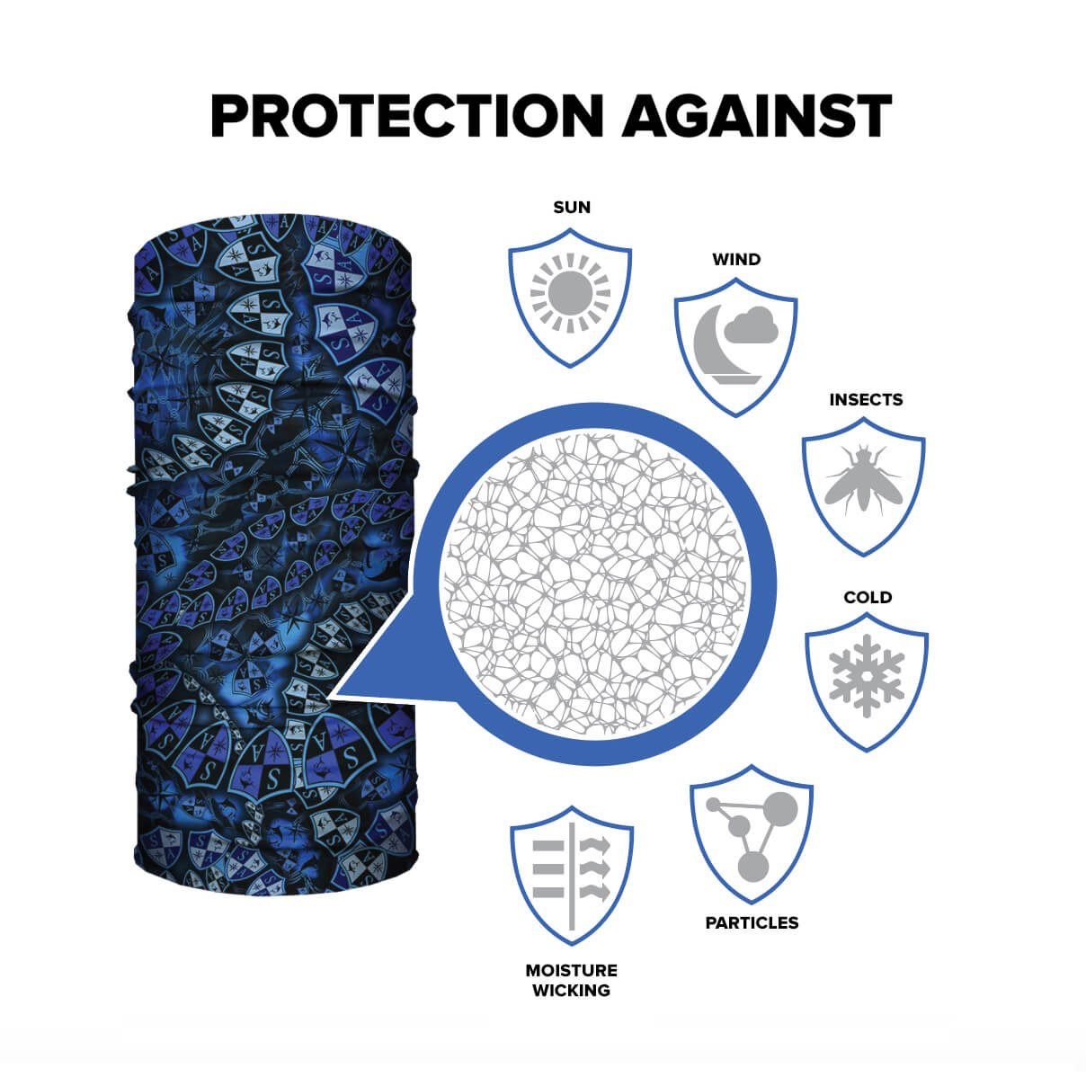 SA Company Face Shield Micro Fiber Protect from wind, dirt and bugs (MagentaMilitary Blackout Camo) by SA Company