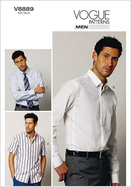 VOGUE PATTERNS V8889 - Patrones de Costura para Camisas de Hombre (Tallas 40 a 46)