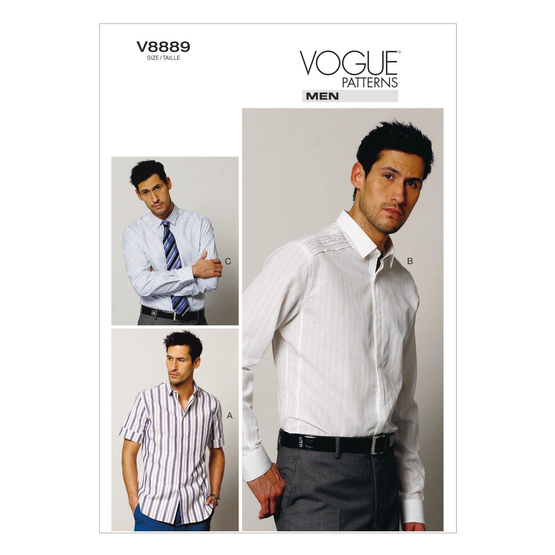 Amazon.com: VOGUE PATTERNS V8889 Men\'s Shirt Sewing Template, Size ...