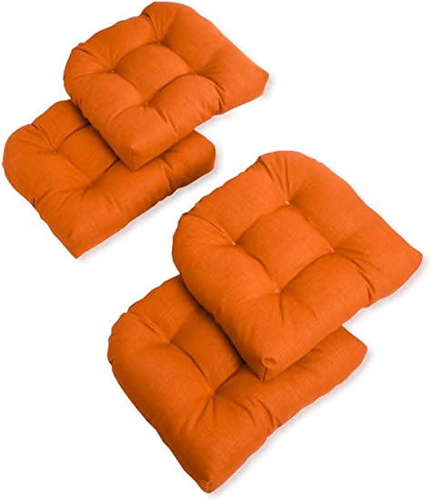 Blazing Needles U-Shaped Solid Spun Polyester Tufted Dining Chair Cushions Set