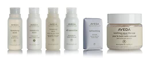 Aveda Amenities Luxury Travel Set- 1 Shampoo, 1 Conditioner, 1 Hand and Body Wash, 1 Moisturizer (1.5ounce) 1 Bath Bar Soap (1.25ounce) 1 Bath Salts. In Clear Travel Pouch