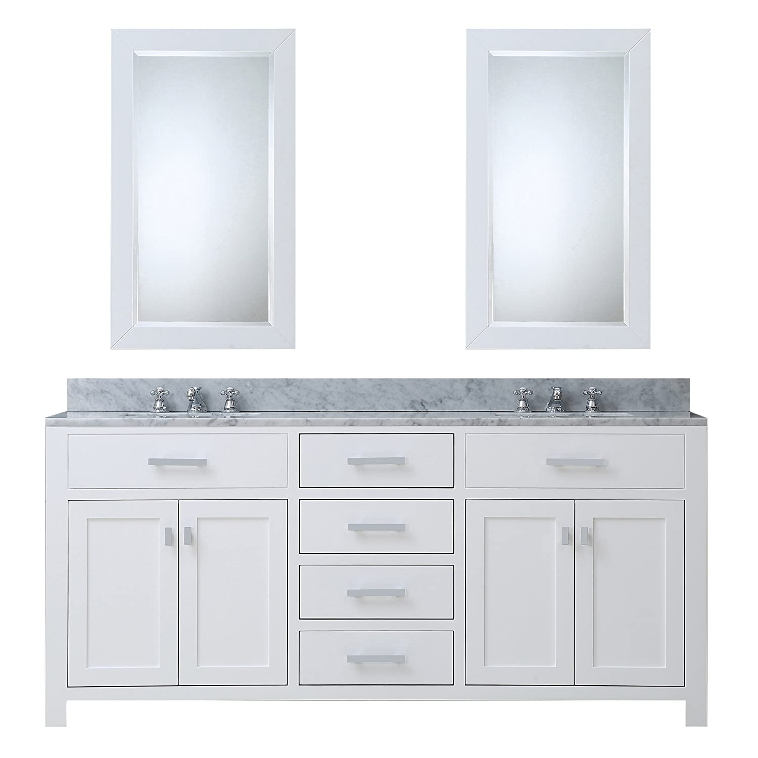 Water Creation MADISON 60WC 60 Inch Solid White Double Sink Bathroom Vanity  With 2 Matching Framed Mirrors     Amazon.com