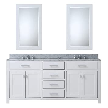 water creation madison 72wc 72inch solid white double sink bathroom vanity with 2 matching