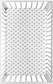 for Mini Crib or Pack and Play ONLY Sweet Jojo Designs Grey and White Triangle Baby Boy or Girl Unisex Fitted Mini Portable Crib Sheet for Earth and Sky Collection