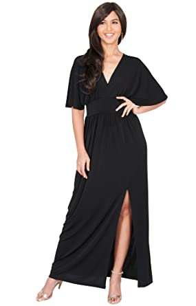 442e3f1551 KOH KOH Petite Womens Long Sexy Kimono Short Sleeve Slit Split V-Neck Party  Cocktail