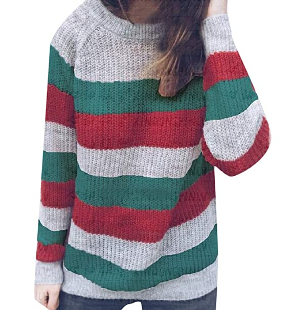 5e62b9575 Domple Women Fall Striped Slim Fit Color Block Knit Pullover Sweaters Jumper  Green XS