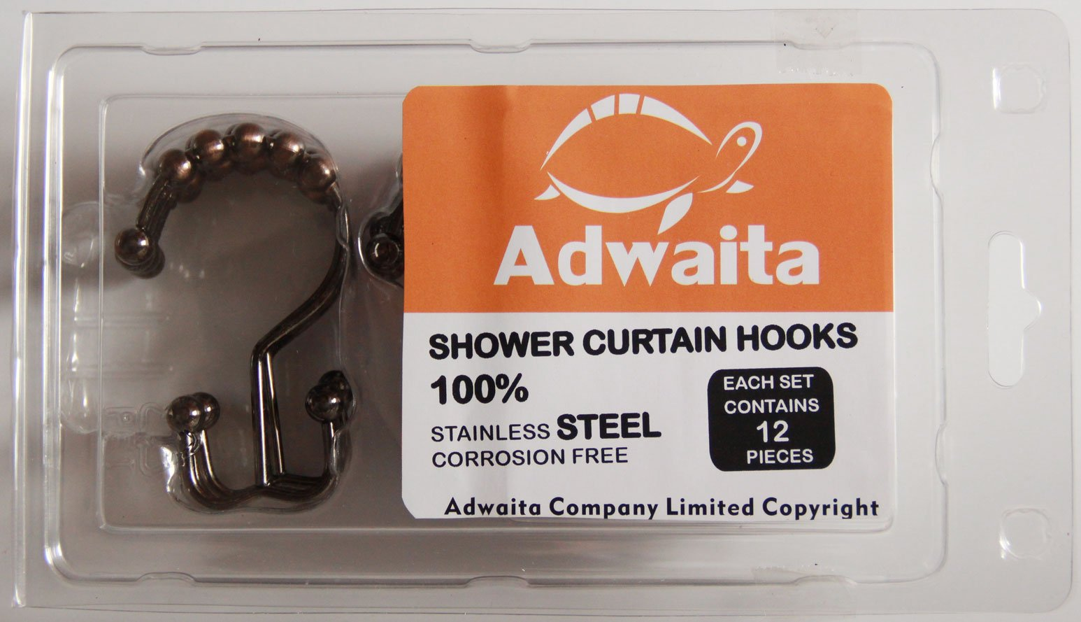 Adwaita Double Shower Hooks-Bathroom Decorative Rustproof Metal Double Glide Shower Curtain Hooks and Ring with 100% Stainless Steel, Oil Rubbed Bronze, Set of 12