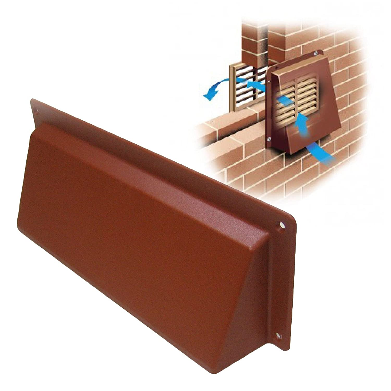 """9"""" x 3"""" Terracotta Hooded Cowl Vent Cover for Air Bricks Grilles"""