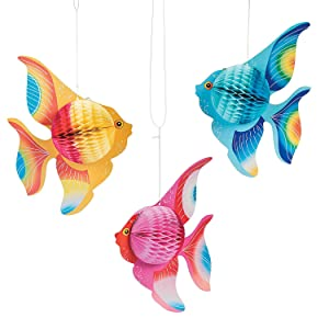 Fun Express - Tissue Fish (6pc) for Party - Party Decor - Hanging Decor - Tissue - Party - 6 Pieces