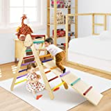 LAZY BUDDY Climbing Triangle with 2-in-1 Ladder Set, Foldable Children Colorful Extra-Large Wooden Climber Frame, Boys & Gril