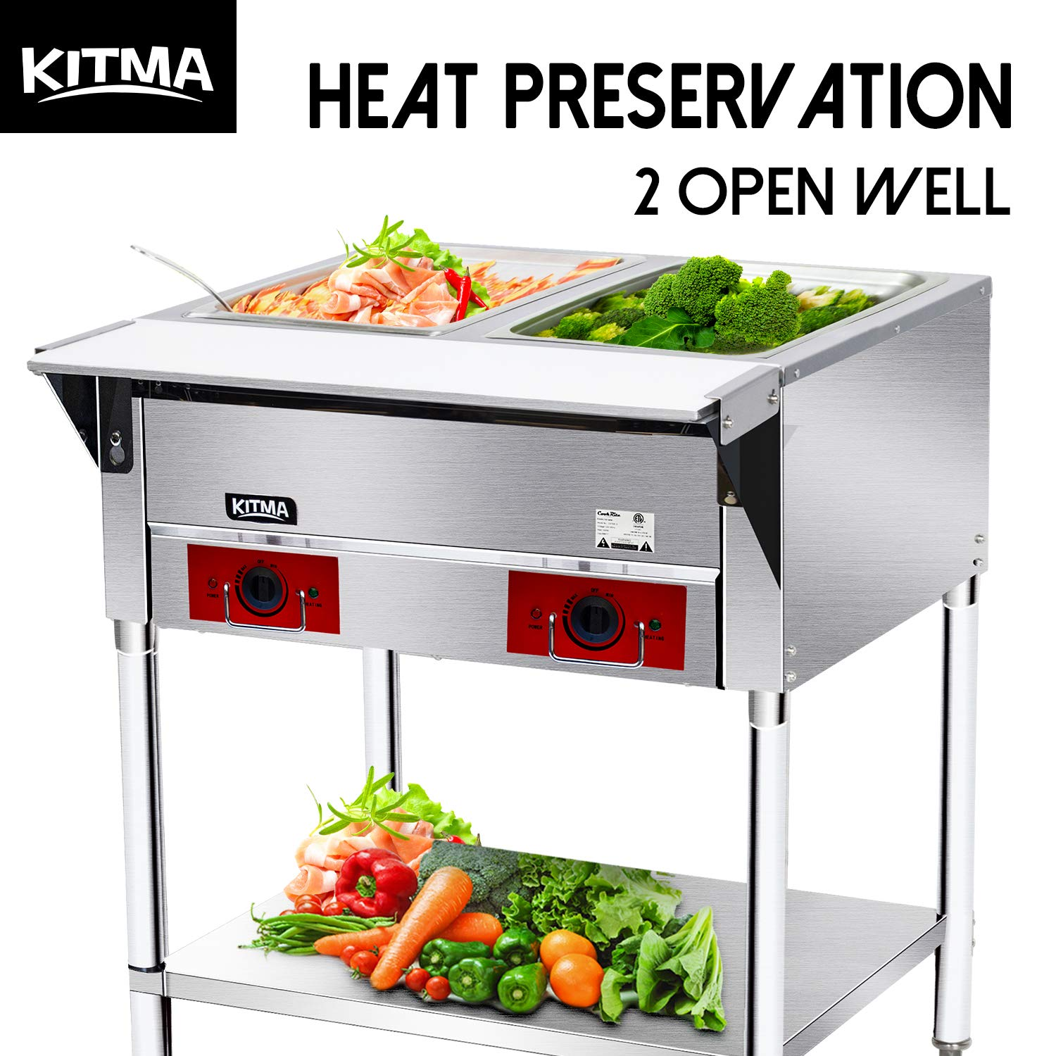 120 V Commercial Electric Food Warmer - Kitma 2 Pot Stainless Steel Steam Table, Buffet Server for Catering and Restaurants by KITMA