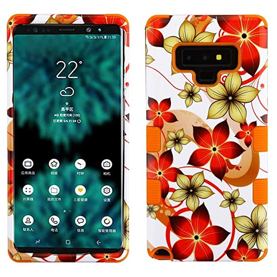 TUFF Military Grade Certified Series Compatible with Samsung Galaxy Note 9 Case - Hibiscus/Orange