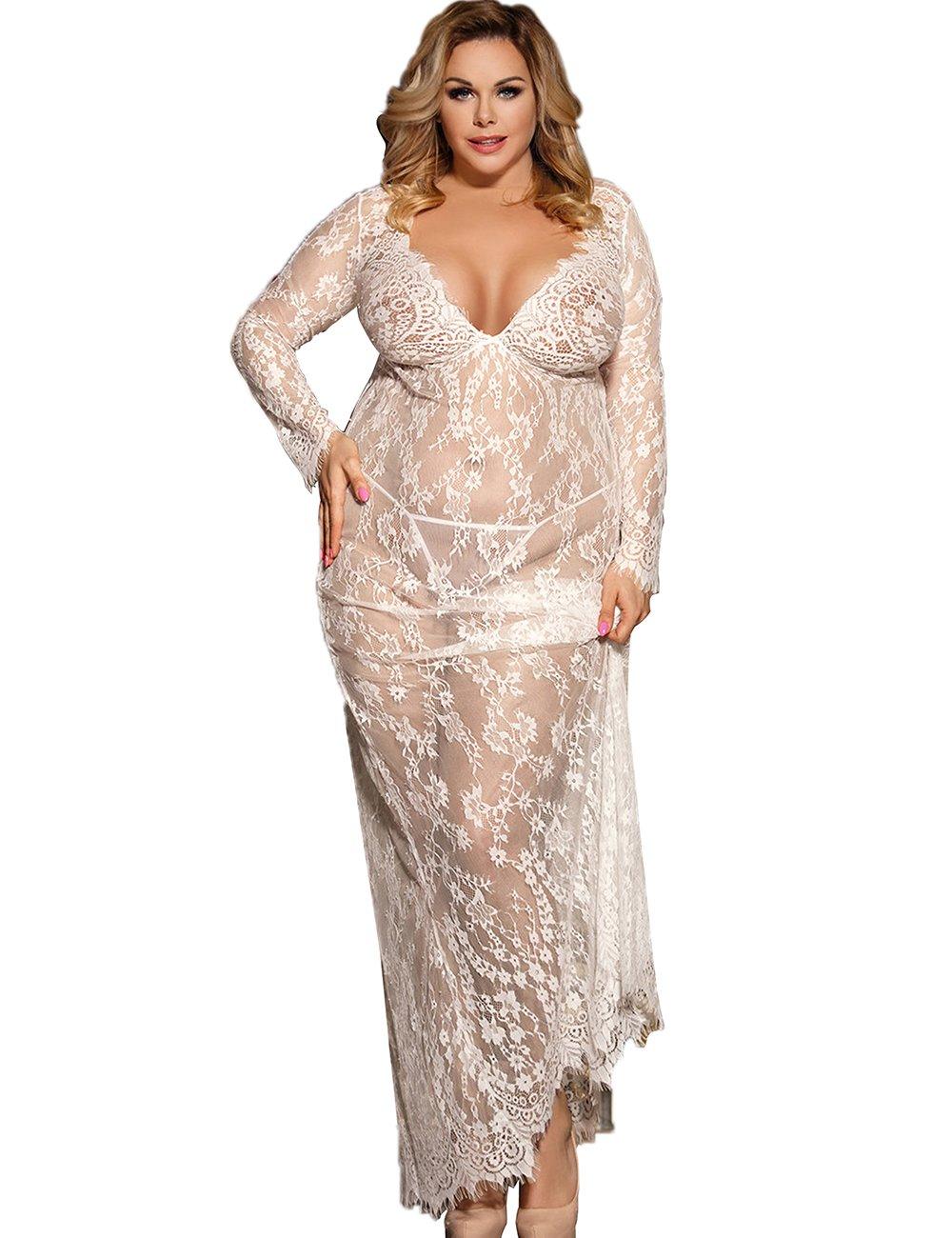 Dean Fast Women Plus Size Floral Lace Nightgown Long Lingerie Sleepwear Chemise White XXXL