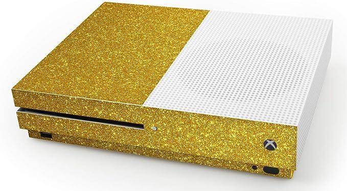 atFoliX Skin compatible con Microsoft Xbox One S, Sticker Pegatina (FX-Glitter-Gold-Rush), Lámina de brillo reflectante: Amazon.es: Videojuegos