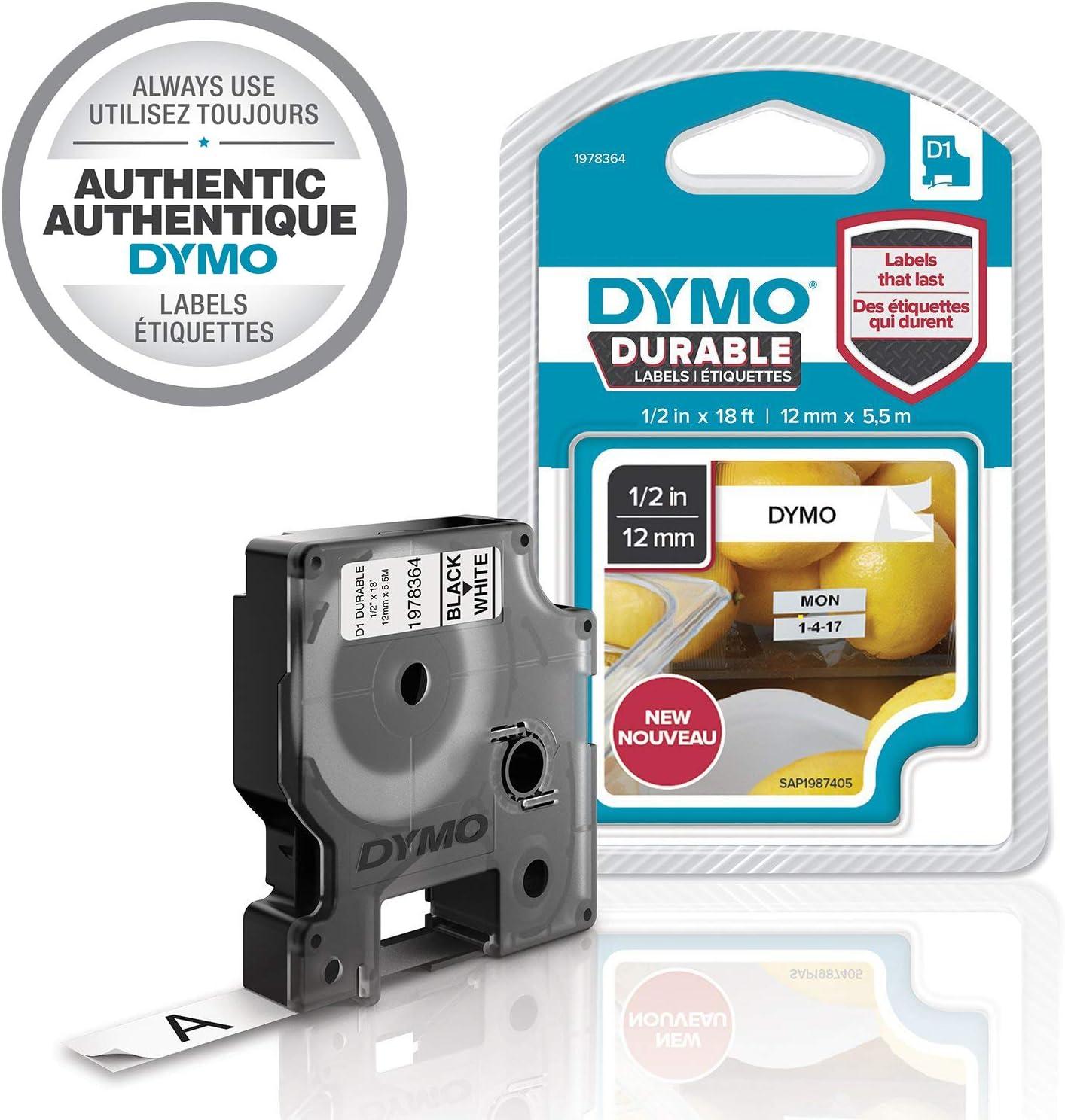 mit 1 D1 Starter-Band + Dymo 1978364 D1 Hochleistungs-Etikettenband Dymo LabelManager 280 Etikettierger/ät f/ür LabelManager-Etikettendrucker, schwarz auf wei/ß, 12/mm B x 5,5/m L 1 Kassette