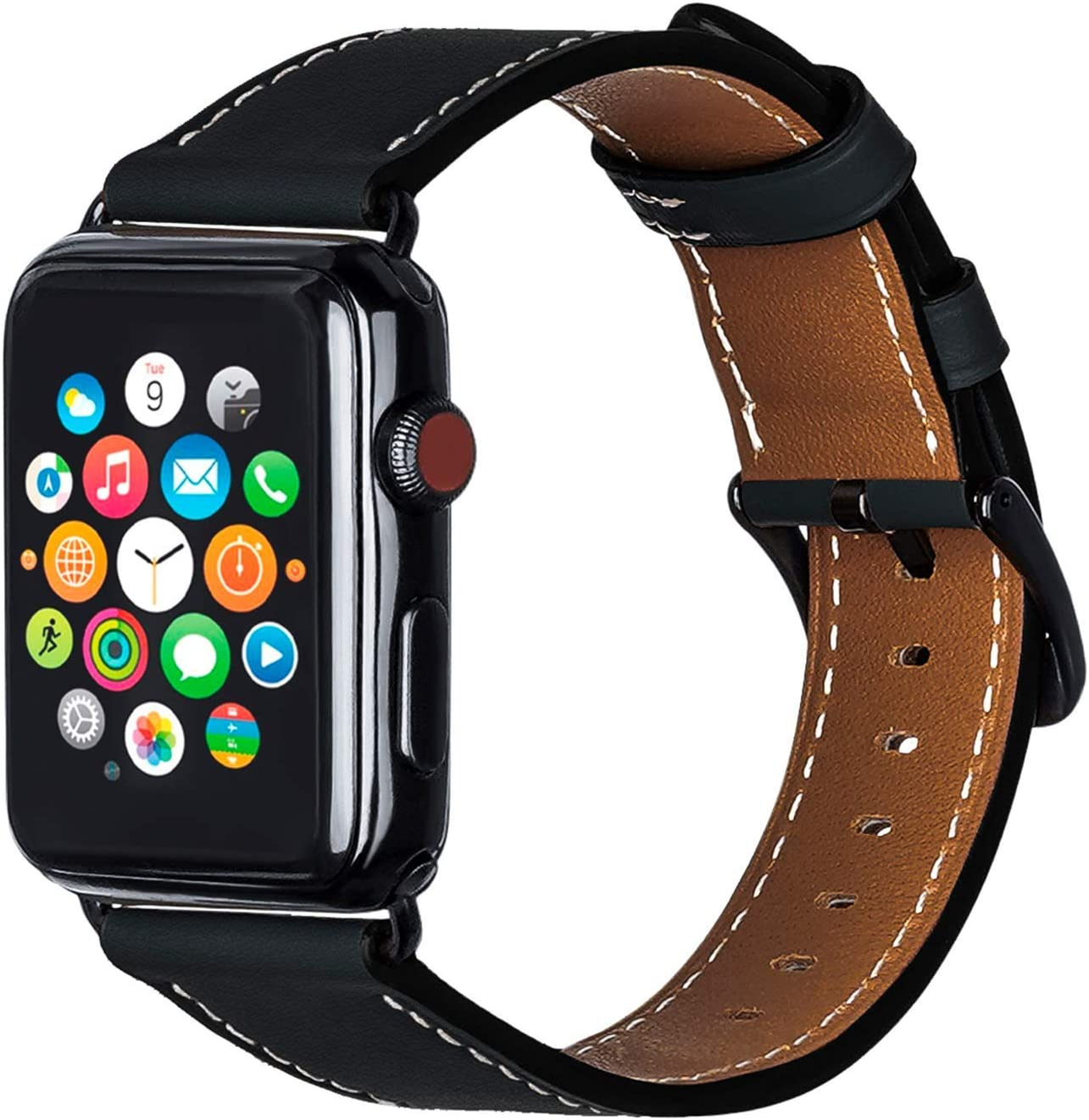 ALADRS Watch Straps Compatible with Apple Watch Leather Band 40mm 38mm, Wristbands Replacement for iWatch Series 6 5 4, SE (40mm) Series 3 2 1 (38mm), Black