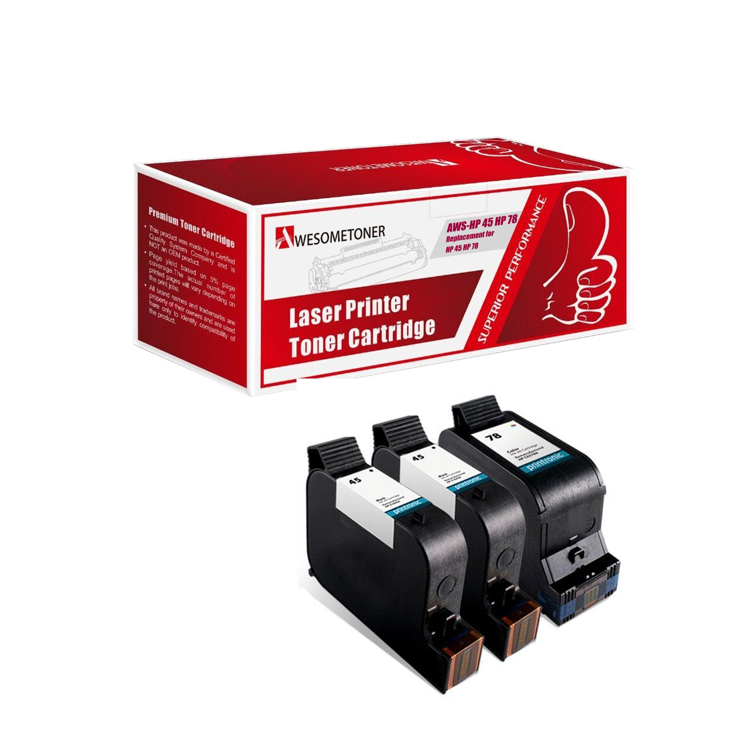 Remanufactured Ink Cartridge Replacement for HP 45 HP 78 (2 Black 1 Color 3 Pack)