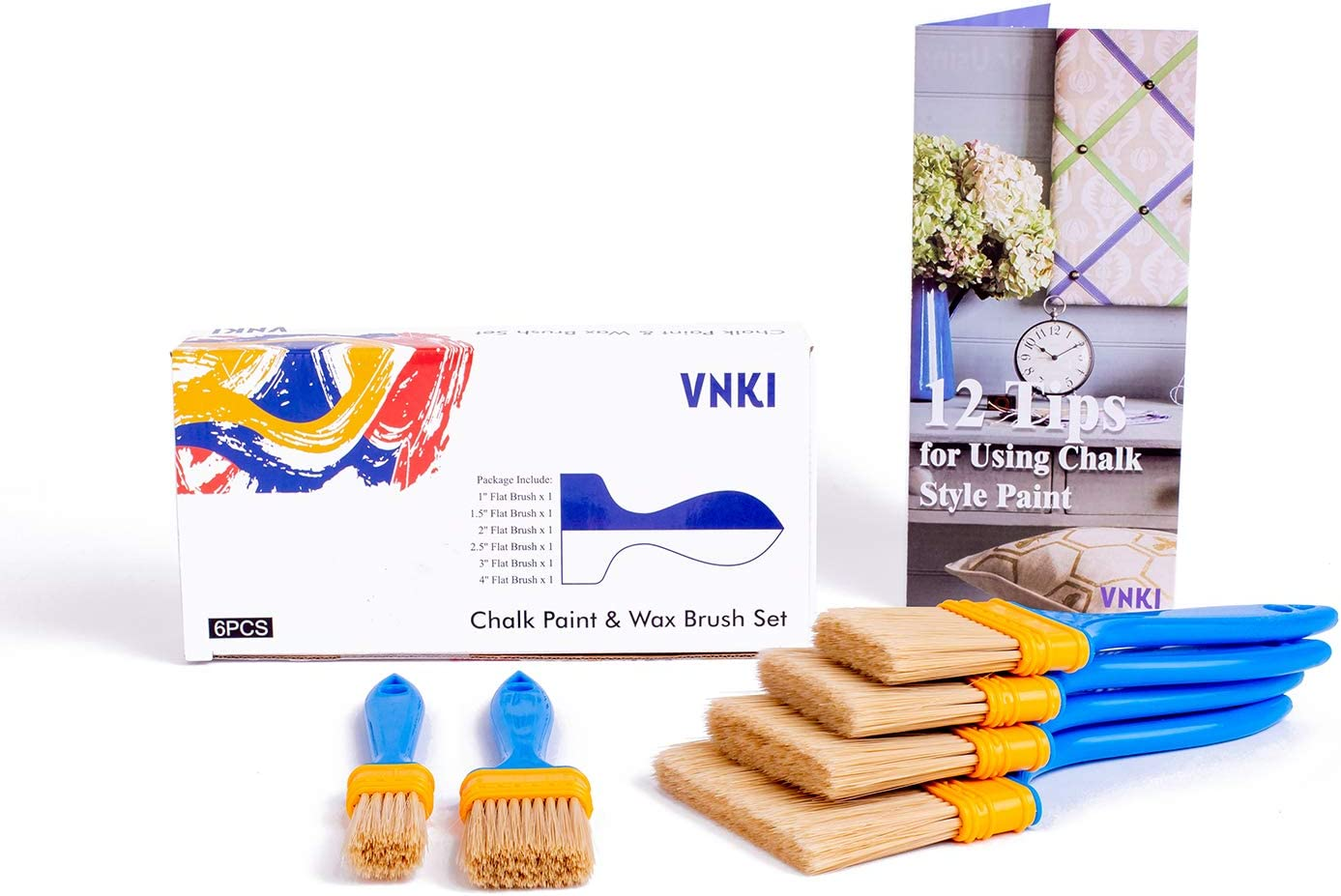 VNKI 6PCS Chalk Paint /& Wax Brush Set for Painting and Refinishing Furniture (1,1.5,2,2.5,3,4in)