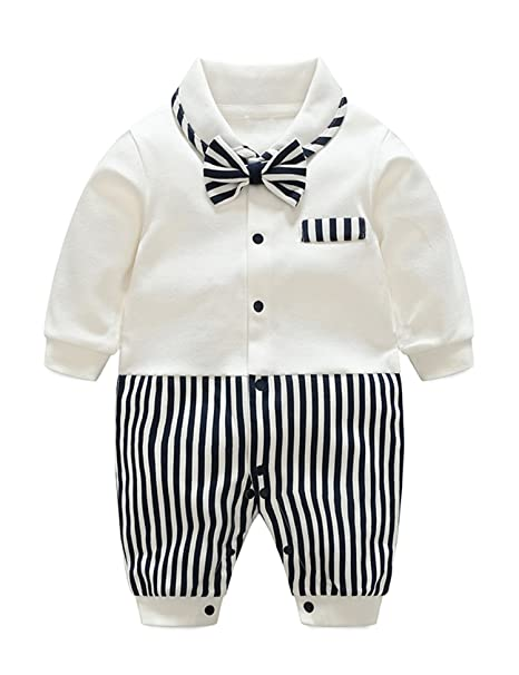 454e57b3 D.B.PRINCE Baby Boys Long Sleeves Gentleman Cotton Rompers Small Suit  Bodysuit Outfit with Bow Tie