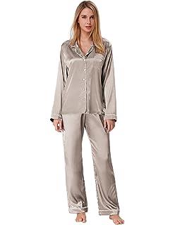 Zexxxy Womens Satin Pajama Set Long Button Down Sleepwear with Pants ZE0052