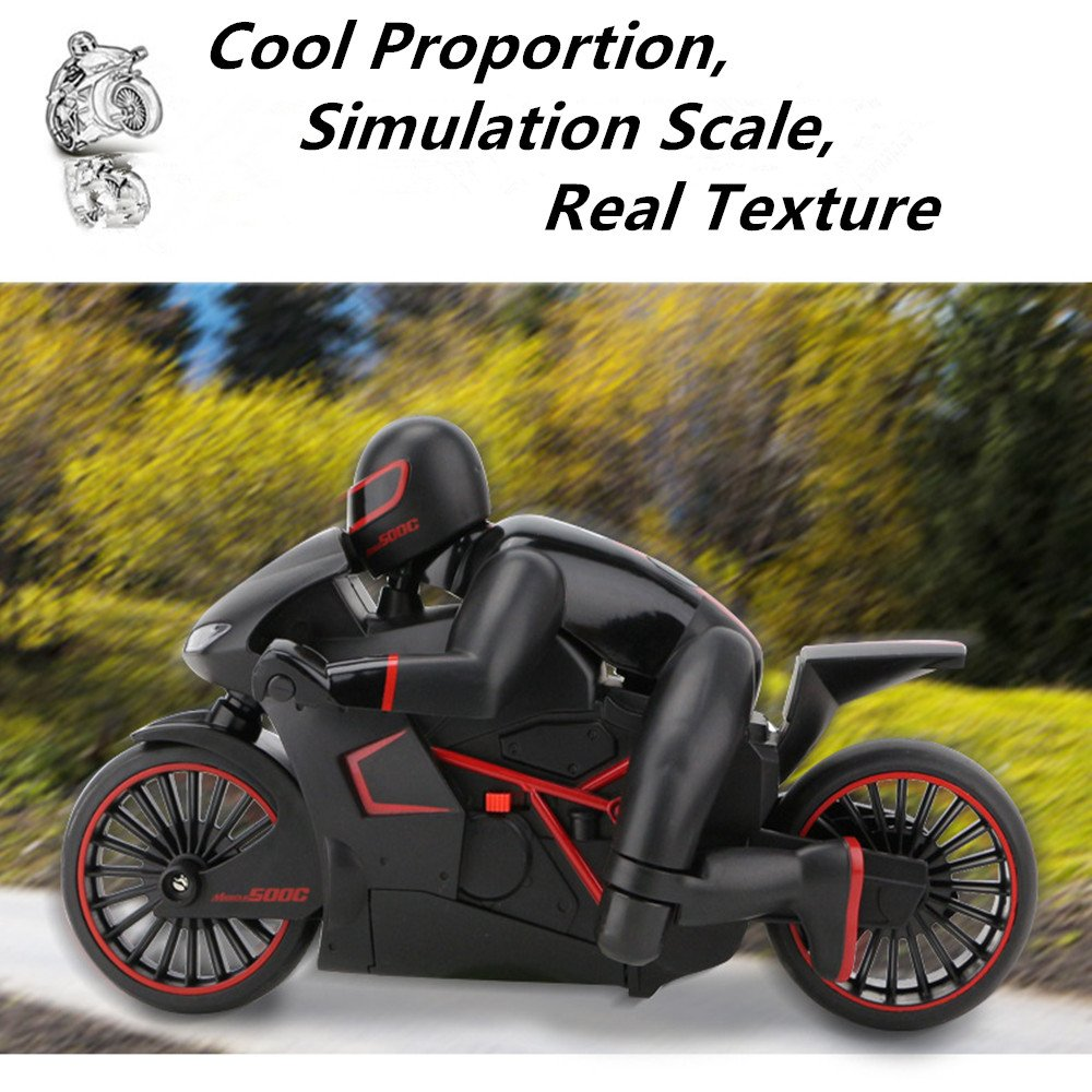 PowerLead RC Motorcycle 2.4GHz 4CH Full-Scale Electric Remote Control Off Road Motorbike with Bright LED Headlights