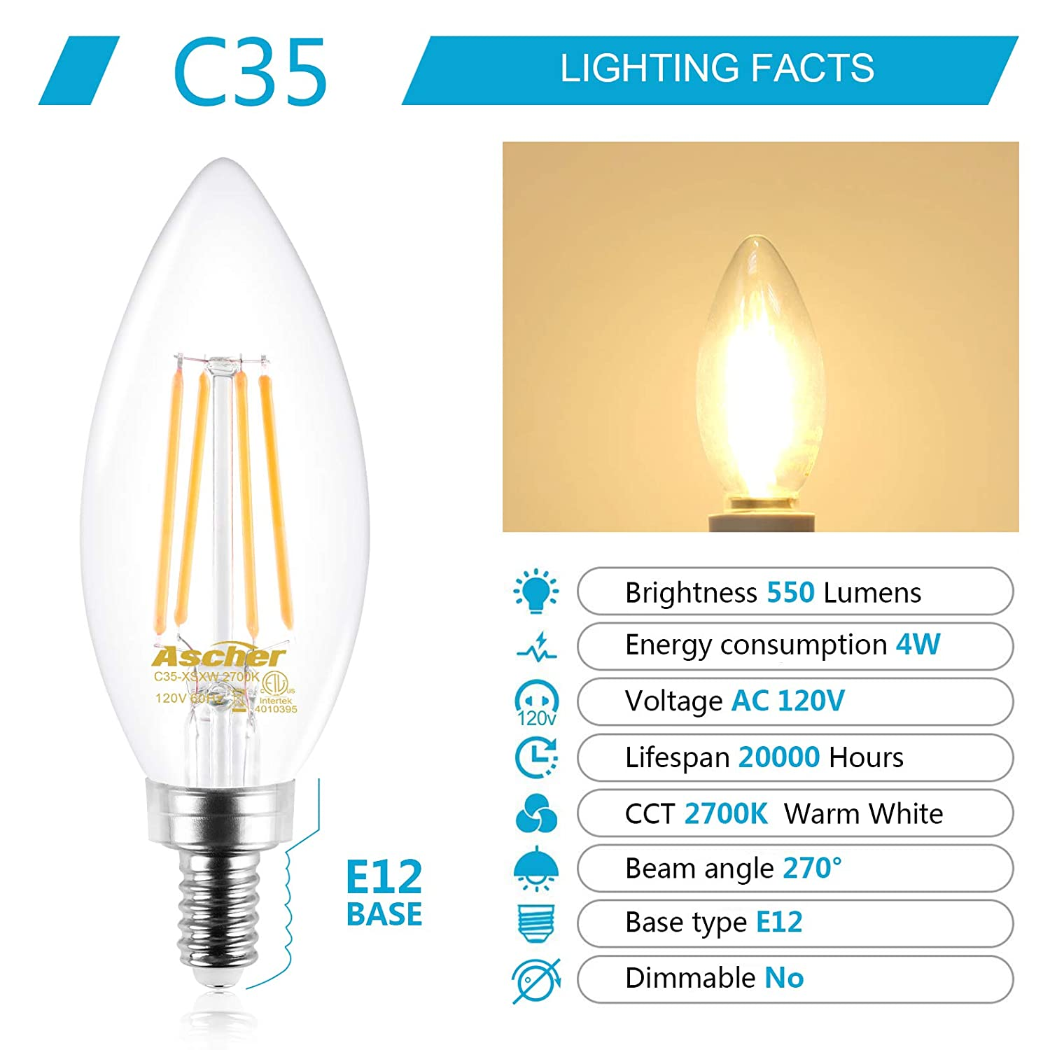 Non-Dimmable Filament Clear Glass Decorative Candle Base 550 Lumens Warm White 2700K Ascher E12 Candelabra LED Light Bulbs 60 Watt Equivalent Pack of 5