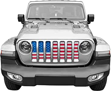 Yoursme Front Grille Grid Grill Screen Insert American Flag Design for Jeep wrangler JL 2018 2019