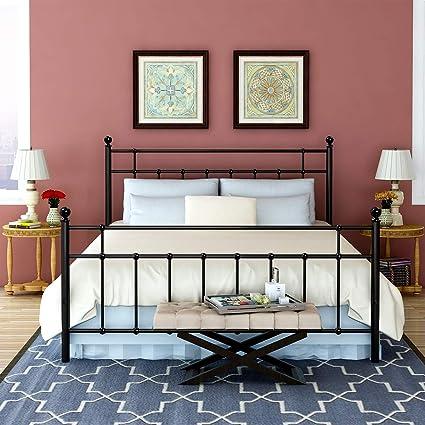 Amazon.com: BUFF HOME Metal Bed Platform Frame with Steel Headboard ...