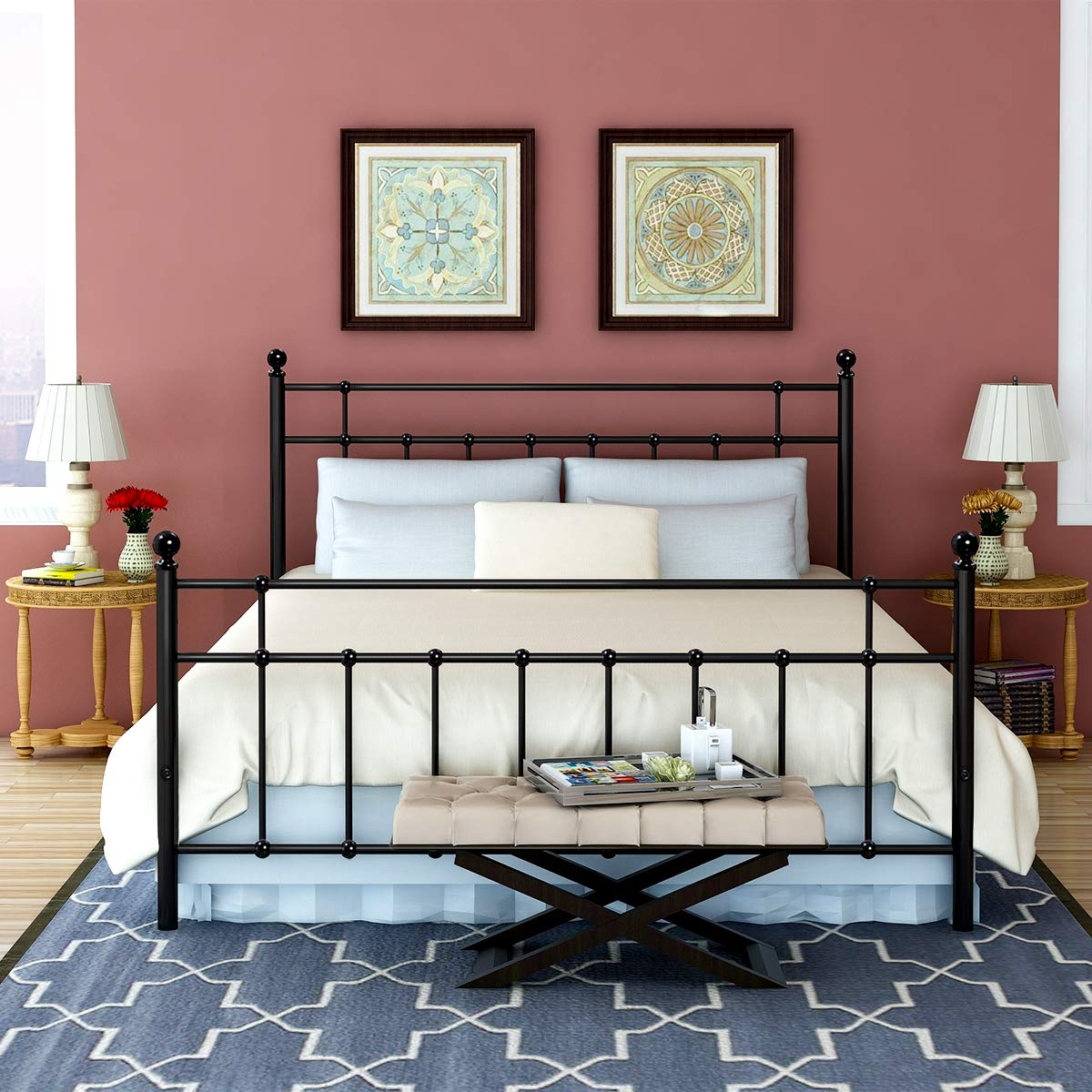 Buff Home Metal Bed Platform Frame with Steel Headboard and Footboard Mattress Foundation Bedroom Furniture Box Spring Replacement for Kids Adults Victorian Style Black Queen Size