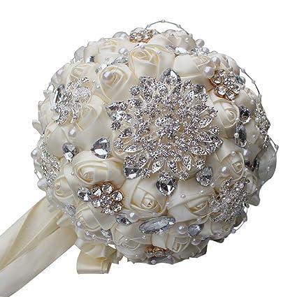 Amazon.com: YOYOYU Ivory Cream Brooch Bouquet Mariage Polyester ...