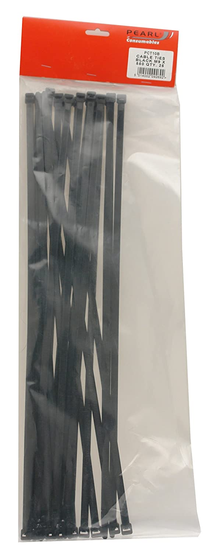 Pearl PCT10B - Bridas (M9 x 550 mm, 25 unidades), color negro Pearl Automotive