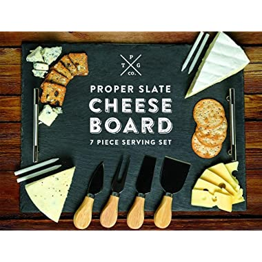 Slate Cheese Board - 7 pc Serving Tray Set 16 x12  Large - Stainless Steel Handles - Soapstone Chalk - 4 Cheese Knives - Foam Protective Feet by Proper Goods
