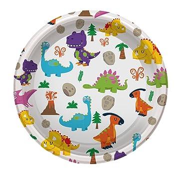 Platos de Plástico con diseño de Dinosaurios ideal para fiestas infantiles o cumpleaños - 18 cm - 6 unidades