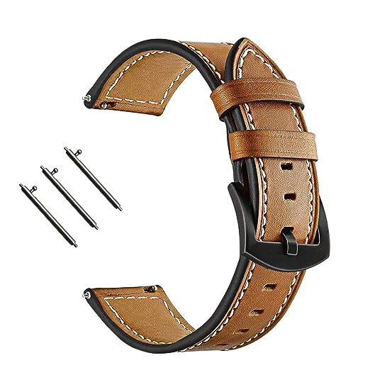 Banda de Reloj de Cuero de Vaca Genuina para Huawei Watch Magic Banda de liberación rápida Correa con Hebilla de Acero Marrón B Reloj de Honor Magic: ...