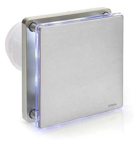 STERR - Silber Edelstahl Badezimmerlüfter mit LED-Beleuchtung - BFS100L-S