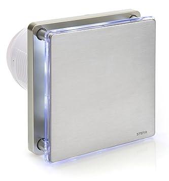 Toll STERR   Silber Edelstahl Badezimmerlüfter Mit LED Beleuchtung Und Timer    BFS100LT S