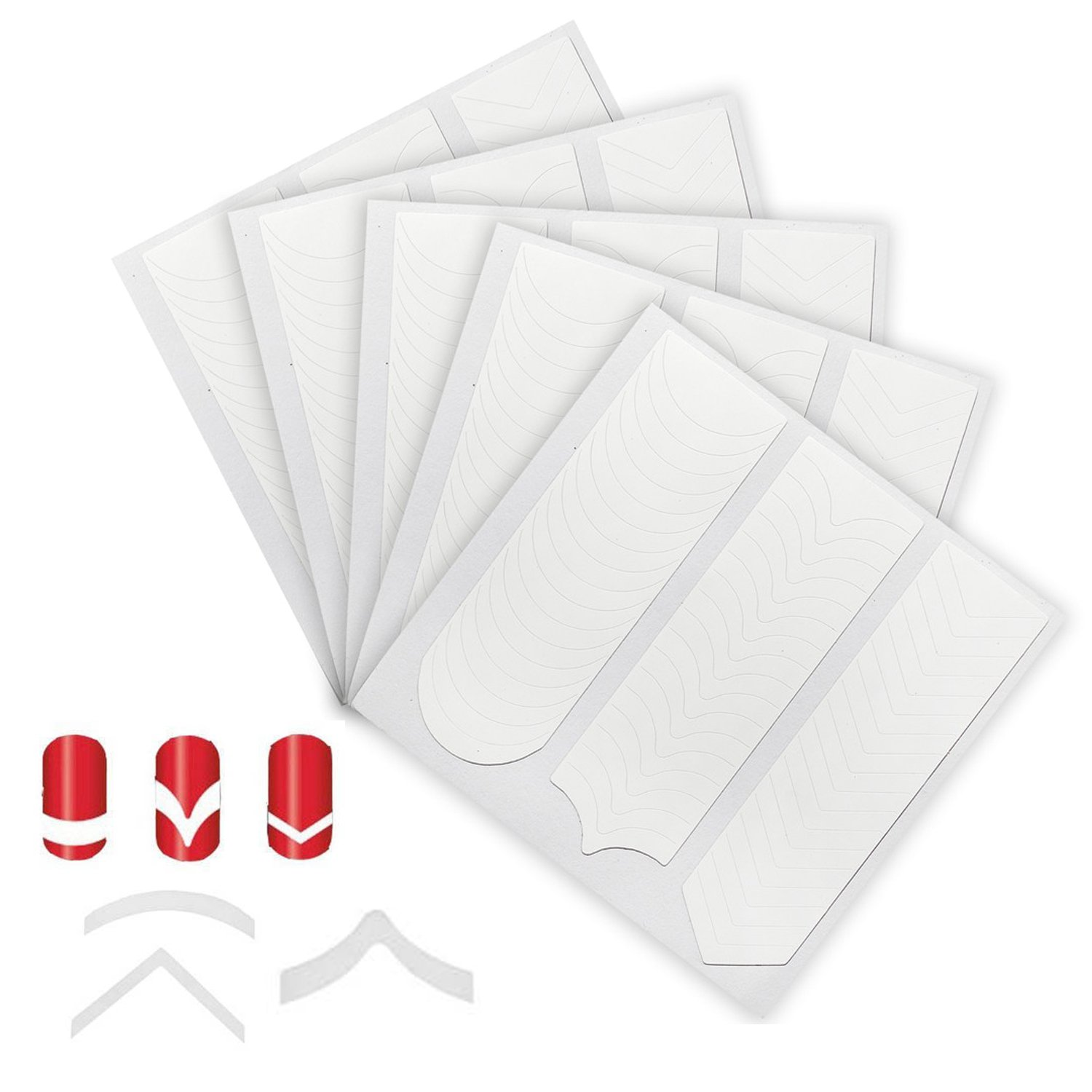 Fantastic Price 5 Sets With 240pcs Professional Nail Art Salons Quality White Guides Stickers / Strips In 3 Different Shapes Chevron, Arched And Arrow For French Nails Manicure And Designs / Patterns Application By VAGA