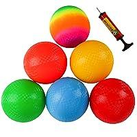 Ogrmar 6PCS 8.5 Inch Playground Balls Dodgeballs with 1 Hand Pump for Kids and Adults Dodge Ball, Kickball, Handball, Camps, Picnic and Schoolyard Games