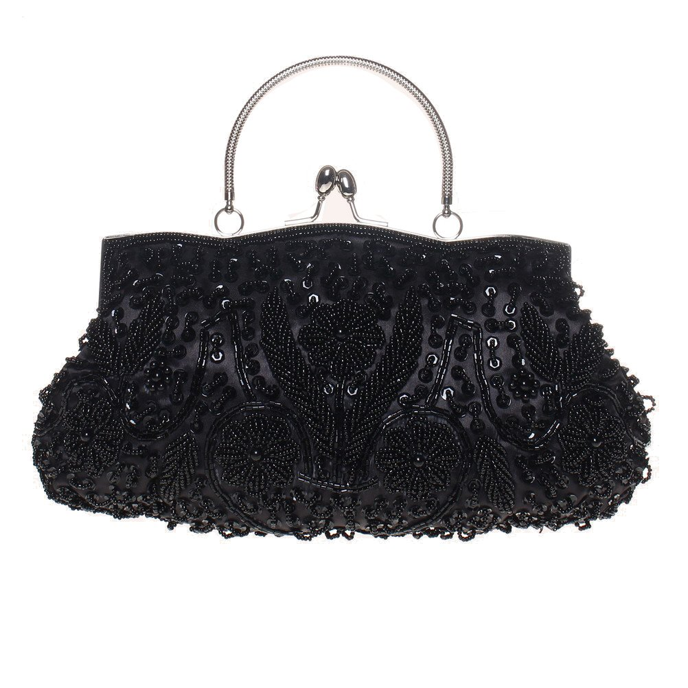 Fashion Road Evening Clutch, Womens Vintage Sequin Beaded Kissing Lock Clutch Purses for Wedding & Party Black