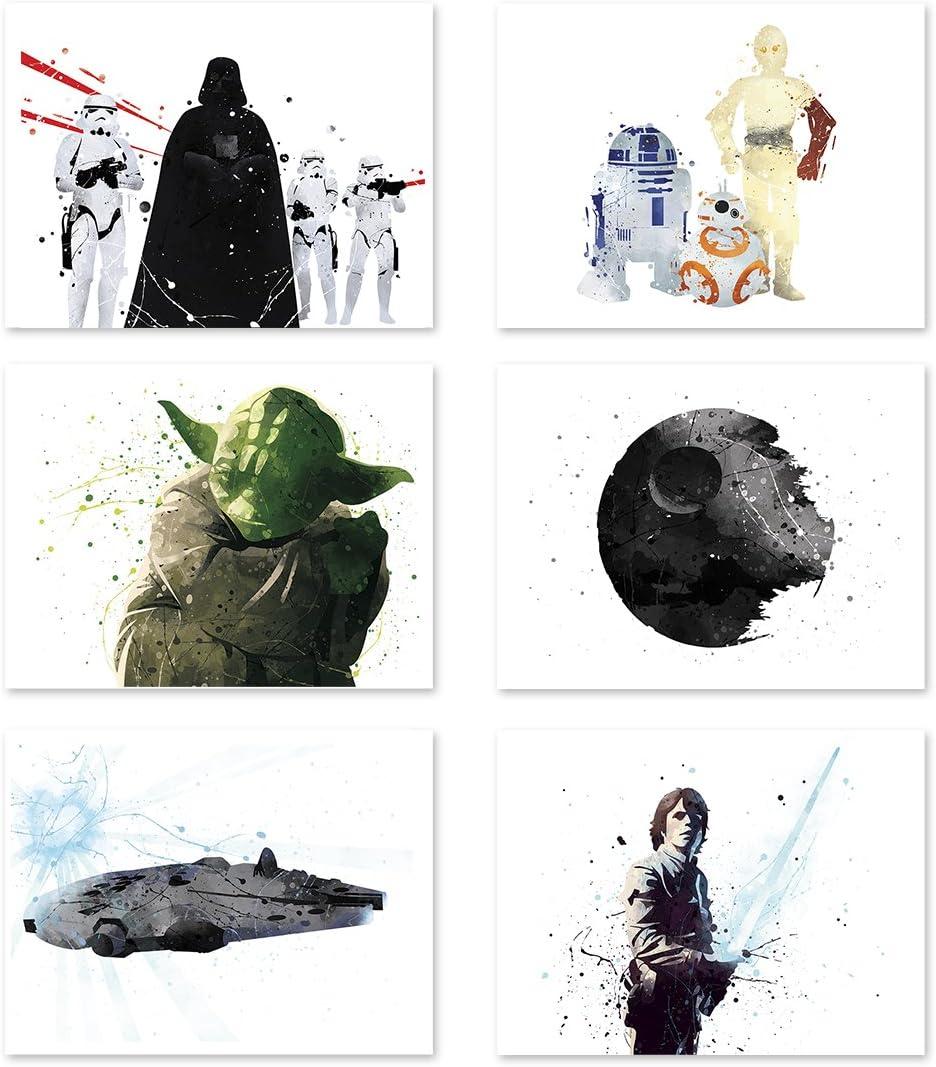 Star Wars Poster Inspired Watercolor Wall Art Jedi Yoda Death Star Prints Decor Paper Set of 6 11x14