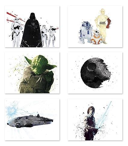 8b44ebbe3 Star Wars Poster Inspired Watercolor Wall Art Jedi Yoda Death Star Prints  Decor Paper Set of