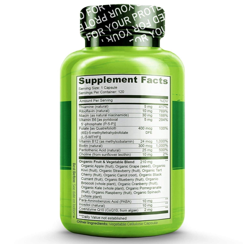 NATURELO B Complex - Whole Food - with Vitamin B6, Folate ...
